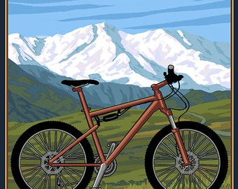 Colorado - Ride the Trails - Mountain Bike (Art Prints available in multiple sizes)
