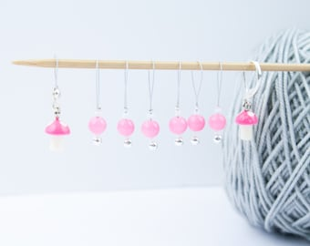 8 Pink Mushrooms Markers - 6+1 stitch markers - 1 progress marker - Ready to ship