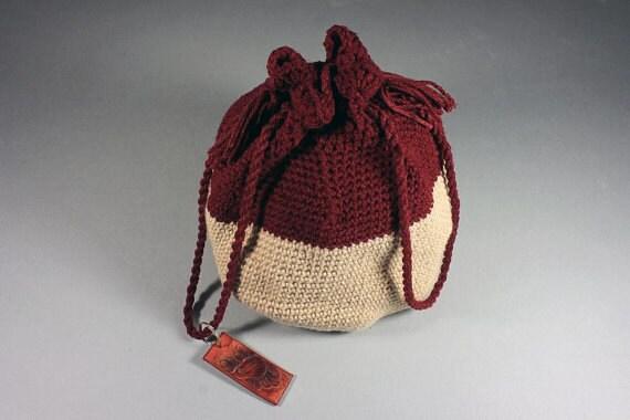Handbag, Drawstring Bag, Hand Tooled Leather Key Ring, Boho Bag, Hippie Bag, Cranberry and Sandstone, Handmade, Crochet,