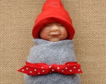 Clay BABY: Sleeping Baby, Red Elf Hat, Grey Swaddling Cloth, Original, OOAK Sculpture, Midwife or Doula Gift Idea, New Baby