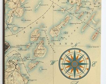 Casco Bay Vintage Nautical Chart Ceramic Tile Trivet 6x6