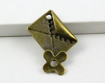 10Pcs Antique Brass envelope Charm envelope Pendant envelope connector 25x20mm (PND507)