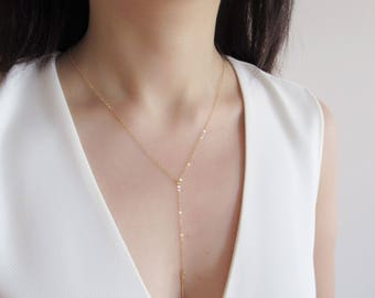 Lariat necklace, Gold Filled necklace, layering necklace, silver necklace, delicate bar necklace, Y necklace, everyday layeri