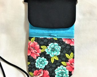 Black and Teal Floral Cell Phone Pouch, Teal, Pink Beads on a Black Neck Cord, Teal Zipper Pouch, Card Holder, Cross Body Cell Phone Pouch