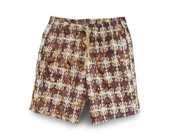 Batik Shorts, Mens Gift, Mens Festival Short, Boho Slouchy Short, Brown Pull-on Short, Men Casual Short