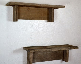 Rustic wall shelf set 15 wide, 5 deep eco friendly wall decor from reclaimed wood