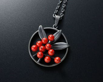 Oxidized silver Nandina pendant necklace, recycled coral pendant