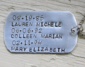 Personalized Key Chain - Personalized with Kids Names and Birth Dates - Hand Stamped Dog Tag Style KeyChain - Gift for Dad or Grandpa
