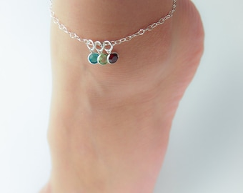 Personalized Birthstone Anklet, Crystal Birthstone Anklet, Mom Anklet with Children's Birthstones, Mother's Anklet, Mother's Day Gift