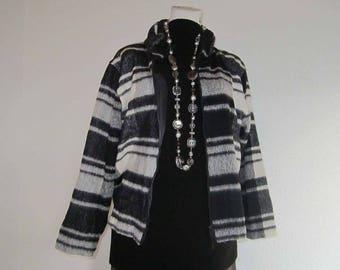 Vintage 80s light wool jacket kastig layered look oversize tartan Boxy jacket