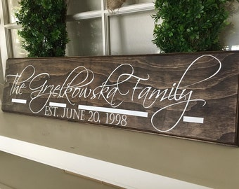 Anniversary gift-Family Sign, Family established Wood Sign -Personalized family Wood Sign -  Personalized Sign - Wedding gift -