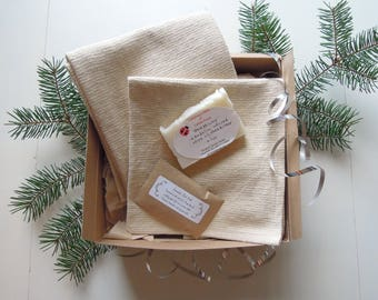 Spa Cleansing Gift Set, Spa Gift Set, Gift for Her, Gift for Mom, Organic Spa Gift, Lavender Foot Soak, Natural Wash Cloth, Hand Towel