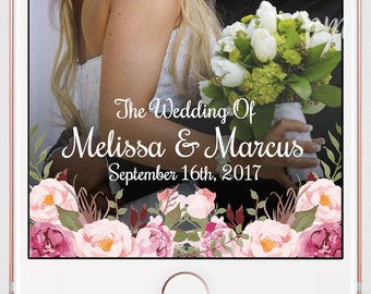 Wedding Geofilter, Snapchat Geofilter, Snapchat Filter, Custom Geofilter, Floral Wedding Snapchat Filter, Custom Snapchat Filter