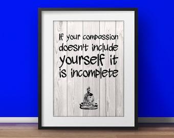 Buddhist quotes, Dalai Lama Quotes, Compassion, Spiritual art Life quote Mindfulness Print Wood poster Typographic print  Yoga artwork