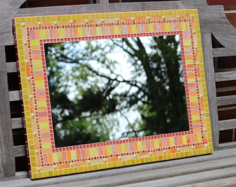 Mosaic Wall Mirror - Yellows, Oranges and Corals