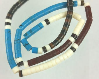 Pen shell, immitation turquoise, brown and white shell 5mm heishi, 19 inch strand