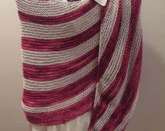 Silk Wool Oversized Stole in Garnet and Silver