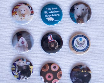 "Martin ""Marty"" Mouse Presidentshul Edition - Pinback Buttons or Strong Ceramic Buttons - Supports the Ottawa Rat Rescue"
