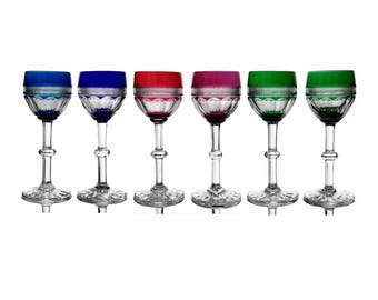 French Saint Louis Crystal Wine Glasses. Set of 6 Colored Crystal White Wine Glasses.