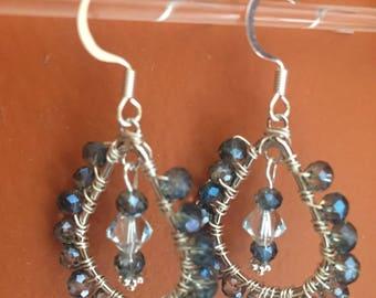 Crystal wrapped dangle earrings