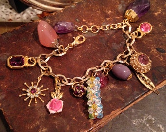 Pink and Lavender Repurposed Recycled Assemblage Charm Bracelet