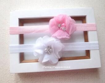 Pink and White Baby Headband,Newborn Headband, Baby Hair Bow, Baby Head Band,Toddler Headband,Baby Girl Headband, Girl Hair Bow, Infant Bow