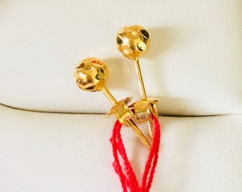 Solid 22k gold round earstuds 916 gold earrings