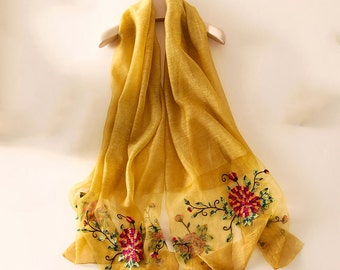 Wool and Silk Embroidered Scarf - Embroidery Silk and Wool Scarf -Embroidered Silk Scarf - Embroidered Scarf - Yellow Wool Scarf- 2016-Z8202