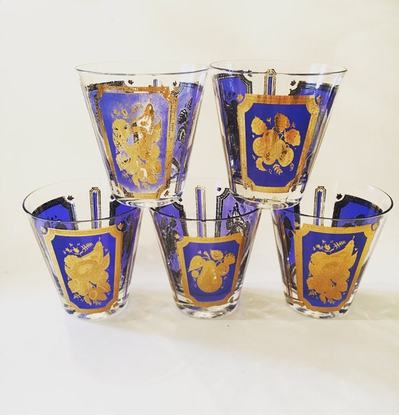 Mid-Century Gold and Blue Signed Georges Briard Glassware - Set of Five Vintage Glasses - Vintage Glassware