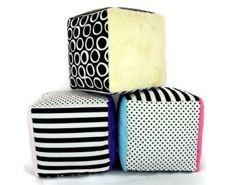 Minky Fabric Soft Blocks  Plush Stuffed  Black and White Polka Dots Stripes Striped Set of Three Choose Your Minky Color