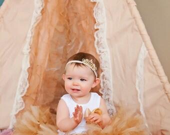 Gold Birthday Tutu Dress   Birthday Dress   Baby Girls