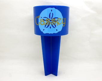 Sand Dollar Beach Cup Holder, Blue Spiker for your drinks in the sand, Spring Break trip or Honeymoon Gift - Gold name