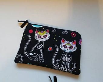 SUGAR SKULLS KITTY Zippered Coin Pouch Case Anime Cosplay