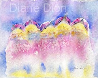 watercolor, birds, nursery, whimsical, hummingbirds, birds, contemporary
