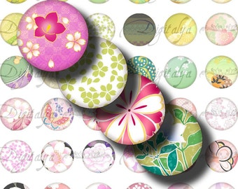 JAPANESE DESIGN Green & Pink (2) Digital Collage Sheet - Asian Motifs Modern Style - 48 Circles 1inch - 25mm or smaller - See Promo Offer