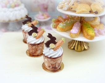 Chocolate Easter Sundae - Rabbit and Carrot Decoration - 12th Scale Miniature Food