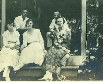 Ethnic Immigrant Family Women Sisters Sitting on Porch Steps 1920s Antique Vintage Black and White Photo Photograph