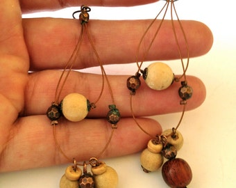 Vintage Earrings,Beads on Cable Wire