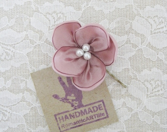 Dusty Pink Flower Hair Pin. Dusty Rose Pink Flower Hair Piece. Bridesmaid Hair Accessory.