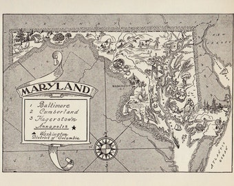 50's MARYLAND Picture Map Pictorial State Map Print Black and White Gallery Wall Art Library Office Decor Gift for Birthday Wedding Friend