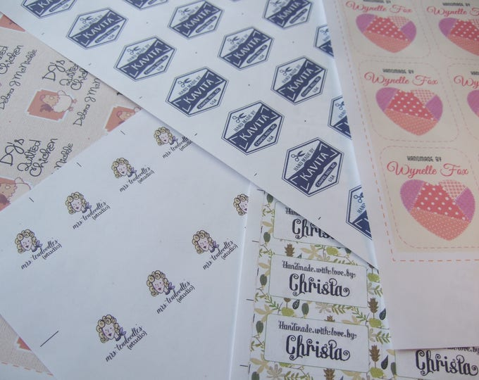 """Single Sheet Custom Fabric Labels • Your Logo • Your Text or Name  • Various Size Tags • 100% Cotton • Colorfast • 2 x 1"""" 40 Labels • Uncut"""