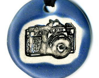 Camera Ceramic Necklace in Blue