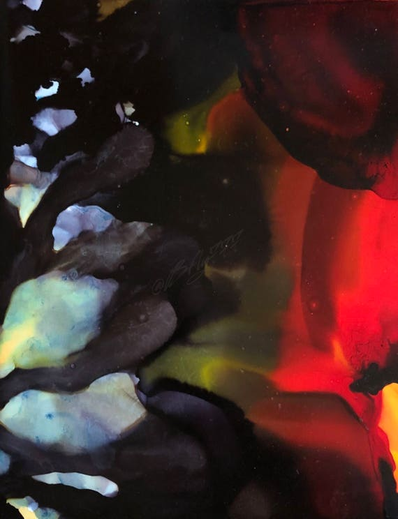 """Abstract Alcohol Ink Original: """"Poppyfield"""""""