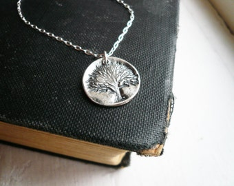 Rustic Tree of Life Necklace in Sterling Silver