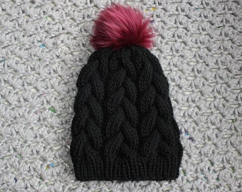 PREORDER; Braided Cable Knit Beanie, Hand Knit Chunky Hat