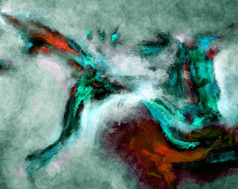 Turquoise Abstract Art Print / Surrealist Paintings, Modern Abstract Prints, Abstract Wall Art, Prints of Contemporary Abstract Paintings