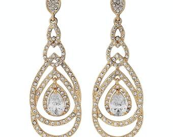 8cm gold earrings, Gold drop earrings, gold dangle earrings, long gold earrings, bridal gold earrings, gold chandelier studs, gypsy earrings
