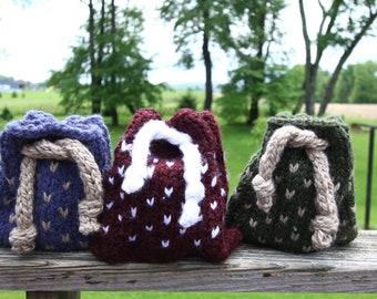 knit hearts crystal bag