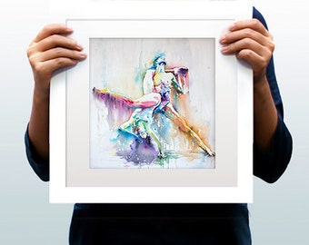 Watercolor Print - Bonding in our differences. Art print of ballet dancers in color.