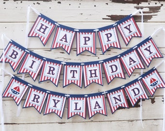 Nautical Happy Birthday Banner with Name, 1st Birthday Banner, Nautical Birthday, Nautical Party, Sailboat Banner, Nautical Decorations